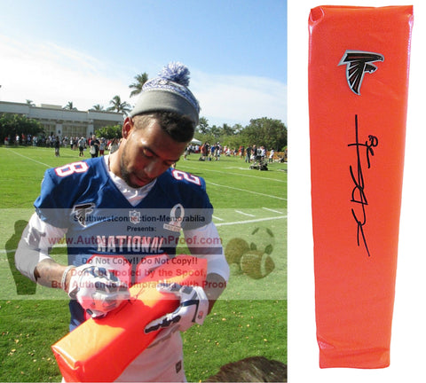 Football End Zone Pylons-Autographed - Thomas DeCoud Signed Atlanta Falcons Football TD Pylon- Cal California Golden Bears- Proof- Collage- 1