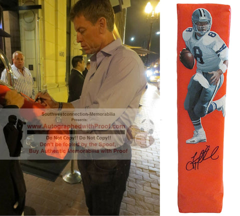 Football End Zone Pylons-Autographed - Troy Aikman Signed Dallas Cowboys Football TD Pylon- UCLA Bruins- Proof- Collage 1
