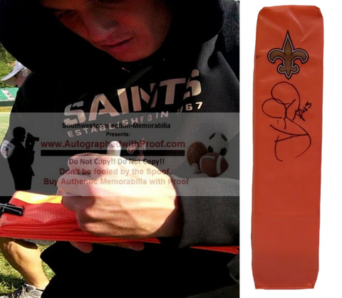 Football End Zone Pylons-Autographed - Vinnie Sunseri Signed New Orleans Saints TD Pylon, Proof- Collage- 1