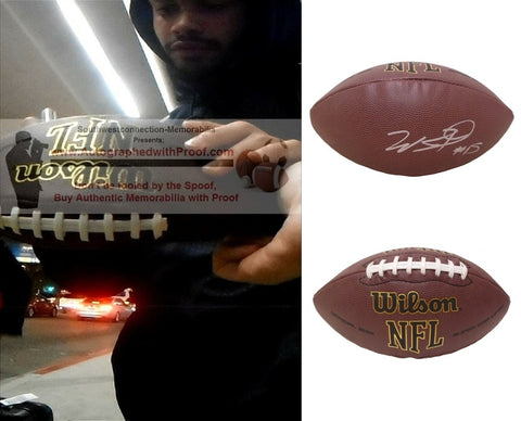 Football-Autographed - Will Fuller Signed NFL Wilson Composite Football, Proof Photo- Houston Texans- Collage