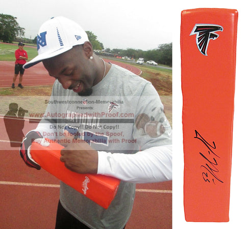 Football End Zone Pylons-Autographed - William Moore Signed Atlanta Falcons Football TD Pylon, Proof- Collage- 1