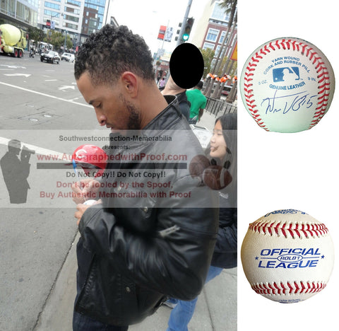 Baseballs-Autographed - Wilson Valdez Signed Rawlings ROLB1 Leather Baseball, Proof Photo- Los Angeles Dodgers- New York Mets- Collage- 1