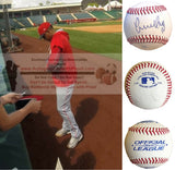 Baseballs-Autographed - Yunel Escobar Signed Rawlings ROLB1 Leather Baseball, Proof Photo- Los Angeles Angels- Atlanta Braves- Collage 1
