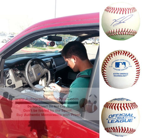 Baseballs-Autographed - Zach Lee Signed Rawlings ROLB Leather Baseball, Proof Photo- Los Angeles Dodgers- Oakland Athletics A's- Collage 1
