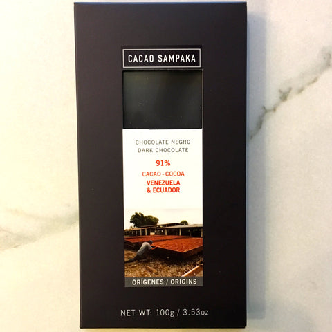 Cacao Sampaka Venezuela Ecuador 91% Dark Chocolate Bar