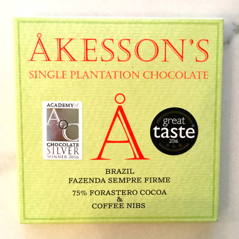 Akesson's Brazil Coffee Nibs 75% Dark Chocolate Bar