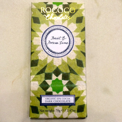 Rococo Basil Persian Lime 65% Dark Chocolate Bar