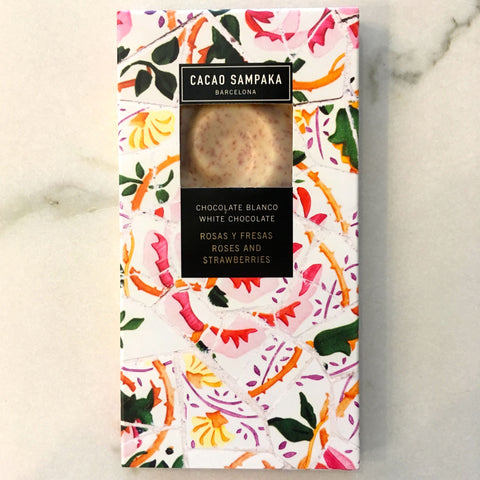 Cacao Sampaka Roses & Strawberry White Chocolate Bar