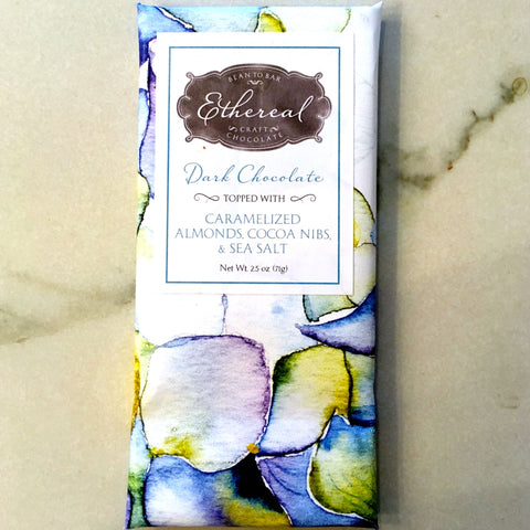 Ethereal Caramelized Almond Cocoa Nibs Sea Salt 66% Chocolate Bar