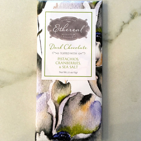 Ethereal Pistachios Cranberry Sea Salt 66% Chocolate Bar