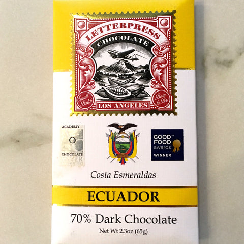 Letterpress Costa Esmeraldas Ecuador 70% Dark Chocolate Bar