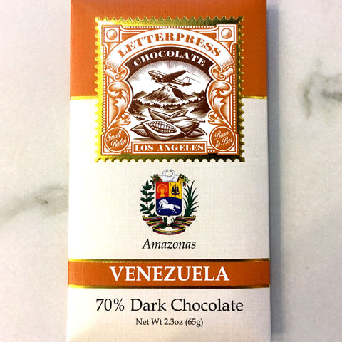Letterpress Amazonas Venezuela 70% Dark Chocolate Bar