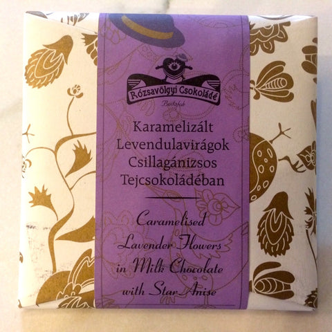 Rozsavolgyi MILK CHOCOLATE W/CARAMELIZED LAVENDER FLOWERS 40% Bar