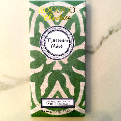 Rococo Chocolate Moroccan Mint Artisan Dark Chocolate Bar