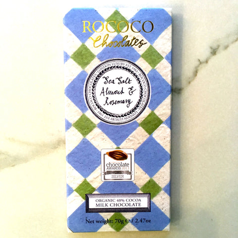 Rococo Chocolate Rosemary Sea Salt Almond 40% Dark Milk Chocolate Bar