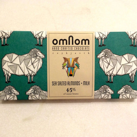 OmNom Sea Salted Almonds + Milk 45% Milk Chocolate Bar