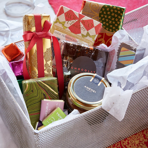 Gourmet Chocolate Gift Basket with 12 Unique Artisan Chocolate Treats -- Cocoa + Co. -- Gourmet Chocolate Store and Boutique Coffee Shop