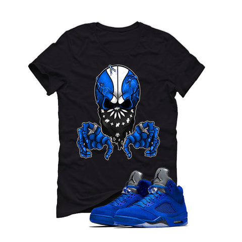 Air Jordan 5 Blue Suede black T (BALL SKULL)