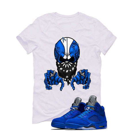 Air Jordan 5 Blue Suede White T (BALL SKULL)