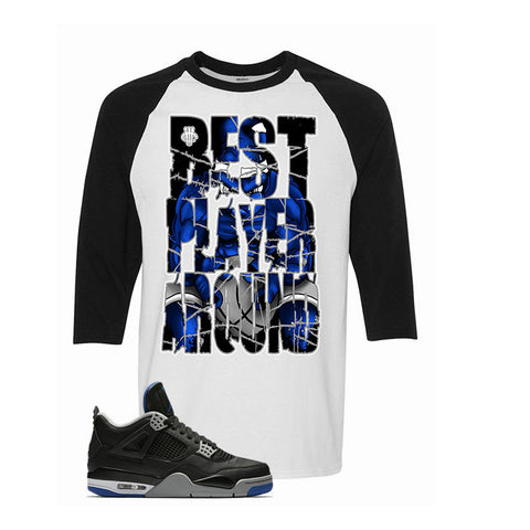 The Jordan 4 Game Royal White and Black Baseball T Shirt (Best Player)