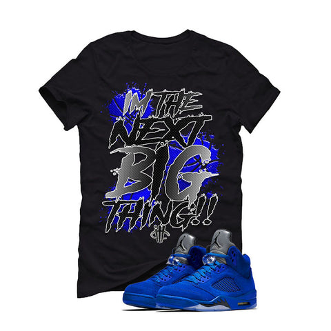 Air Jordan 5 Blue Suede black T (BIG THING)