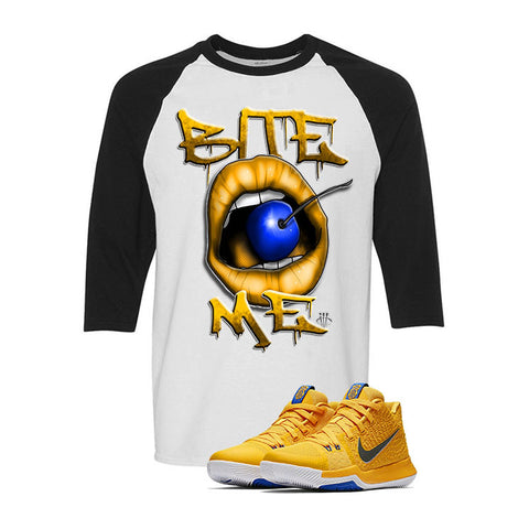 Nike Kyrie 3 Mac and Cheese Kids White & Black Baseball T (BITE ME)