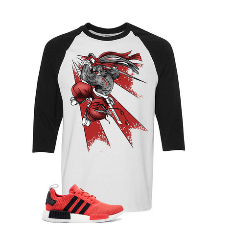 Adidas NMD R1 Red/Black White And Black Baseball T's (Bugs.)