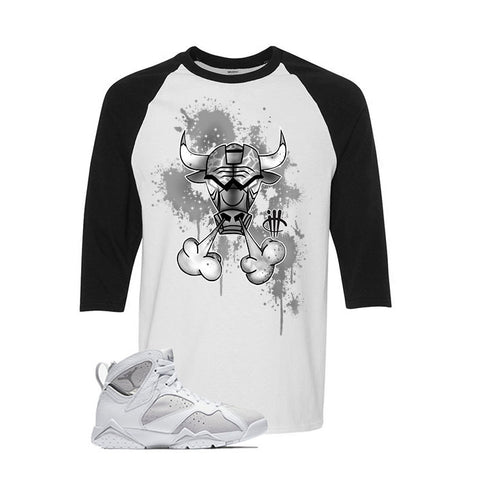 Jordan 7 White Metallic Silver Pure Money Black T Shirt (MJ Shooter)
