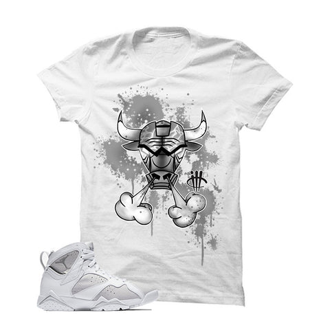 Jordan 7 White Metallic Silver Pure Money White T Shirt (Skate or Fly)