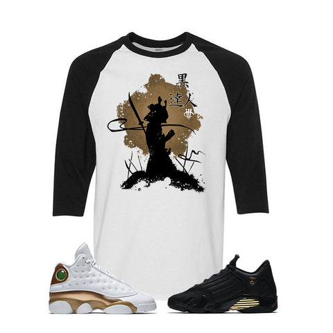 Jordan 13/14 Defining moments pack White And Black Baseball T's (BLACK SAMURAI)