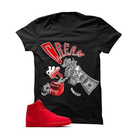 Jordan 1 Retro High Red Suede White T Shirt (MJ)
