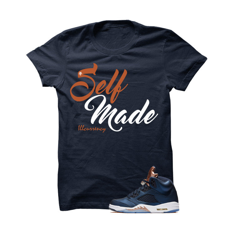 Jordan 5 Bronze Navy Blue T Shirt (Self Made) - illCurrency Matching T-shirts For Sneakers and Sneaker Release Date News