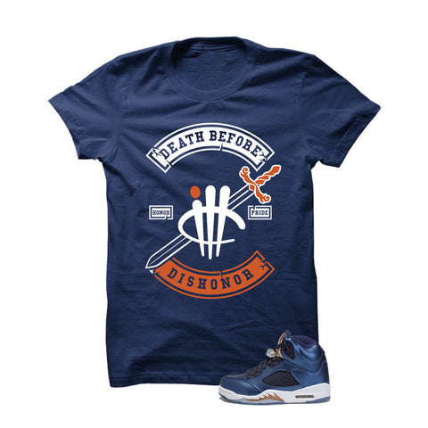 Jordan 5 Bronze Navy Blue T Shirt (I'm A Boss)