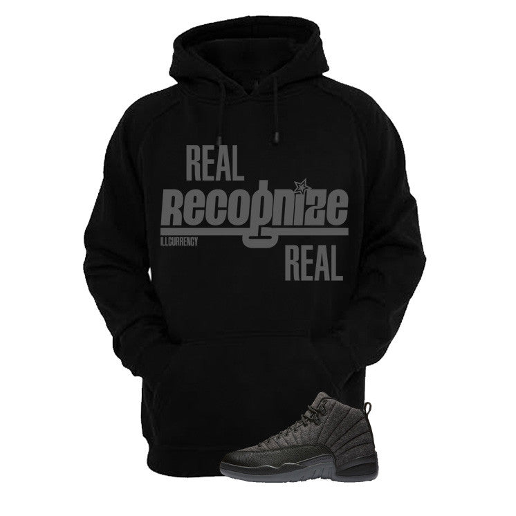 Jordan 12 Wool Black T Shirt (Real Recognize Real) - illCurrency Matching T-shirts For Sneakers and Sneaker Release Date News - 3