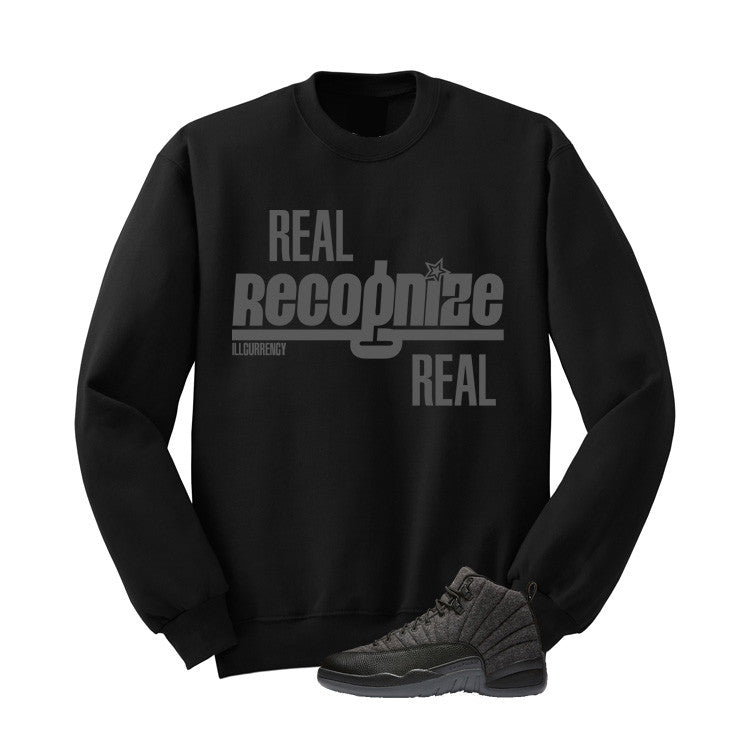 Jordan 12 Wool Black T Shirt (Real Recognize Real) - illCurrency Matching T-shirts For Sneakers and Sneaker Release Date News - 2