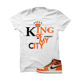 Jordan 1 Reversed Shattered Backboard White T Shirt (King Of My City) - illCurrency Matching T-shirts For Sneakers and Sneaker Release Date News - 1