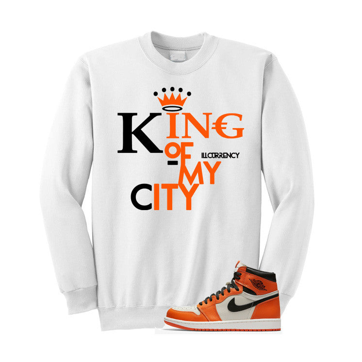 Jordan 1 Reversed Shattered Backboard White T Shirt (King Of My City) - illCurrency Matching T-shirts For Sneakers and Sneaker Release Date News - 3