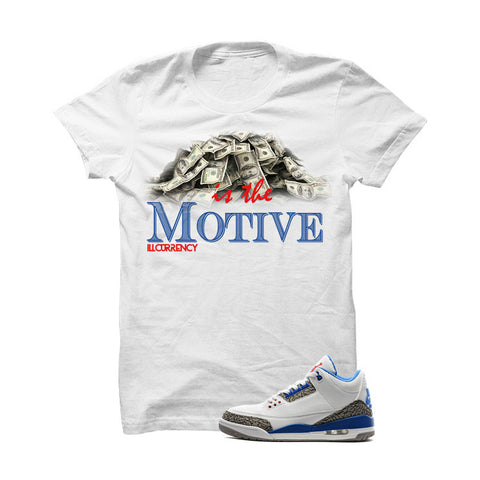 Jordan 3 Og True Blue White T Shirt (Bulls Head Chain)