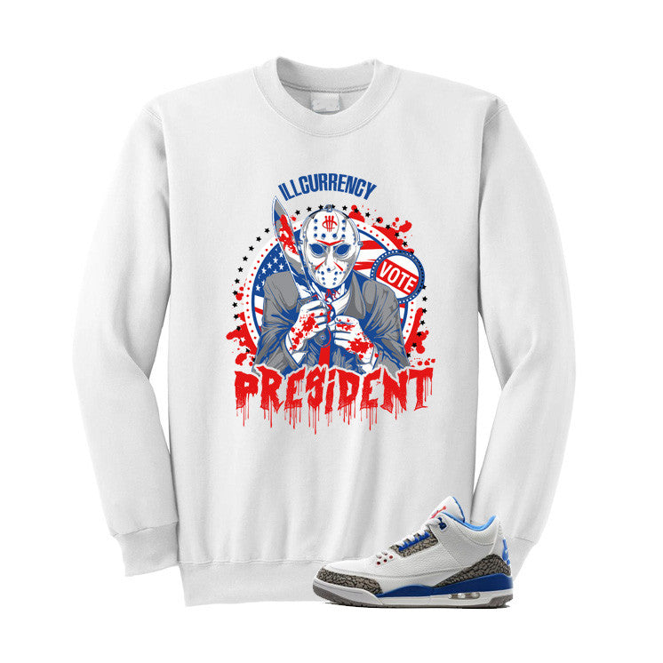 Jordan 3 Og True Blue White T Shirt (illcurrency For President) - illCurrency Matching T-shirts For Sneakers and Sneaker Release Date News - 2