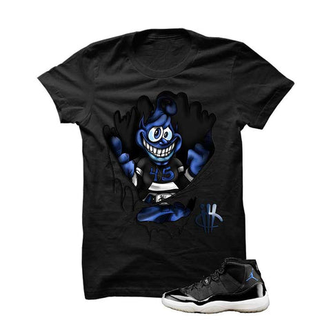 Jordan 11 Space Jam Black T Shirt (Ripping Through Alien)