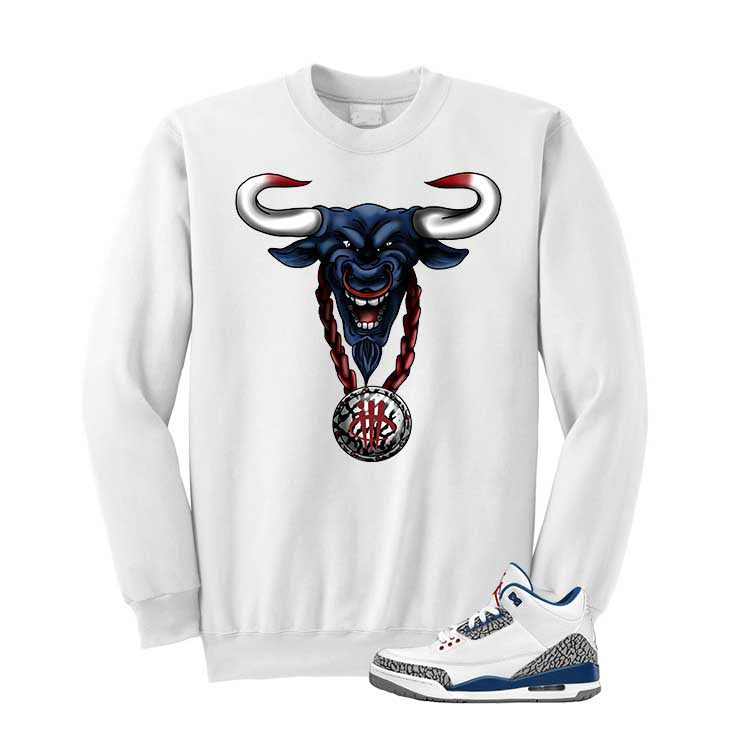 Jordan 3 Og True Blue White T Shirt (Bulls Head Chain) - illCurrency Matching T-shirts For Sneakers and Sneaker Release Date News - 2