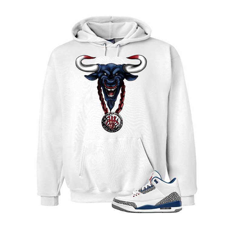 Jordan 3 Og True Blue White T Shirt (Bulls Head Chain) - illCurrency Matching T-shirts For Sneakers and Sneaker Release Date News - 3