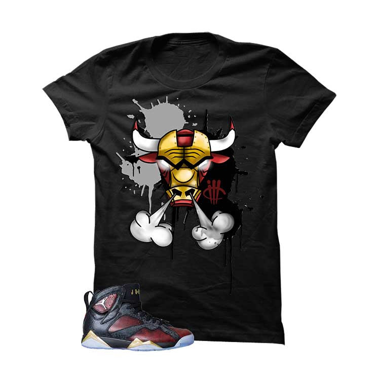 Jordan 7 Doernbecher Black T Shirt (Iron Bull) - illCurrency Matching T-shirts For Sneakers and Sneaker Release Date News - 1