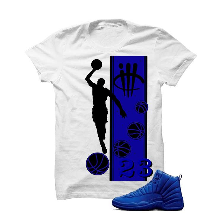 Jordan 12 Blue Suede White T Shirt (Mj) - illCurrency Matching T-shirts For Sneakers and Sneaker Release Date News - 1