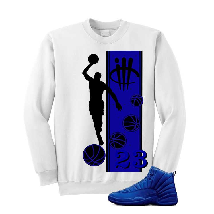 Jordan 12 Blue Suede White T Shirt (Mj) - illCurrency Matching T-shirts For Sneakers and Sneaker Release Date News - 2