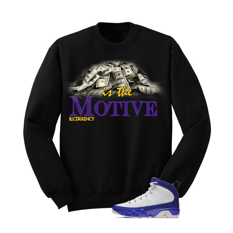 Jordan 9 Lakers Black T Shirt (Money Is The Motive) - illCurrency Matching T-shirts For Sneakers and Sneaker Release Date News - 2