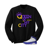 Jordan 9 Lakers Black T Shirt (Queen Of My City) - illCurrency Matching T-shirts For Sneakers and Sneaker Release Date News - 2