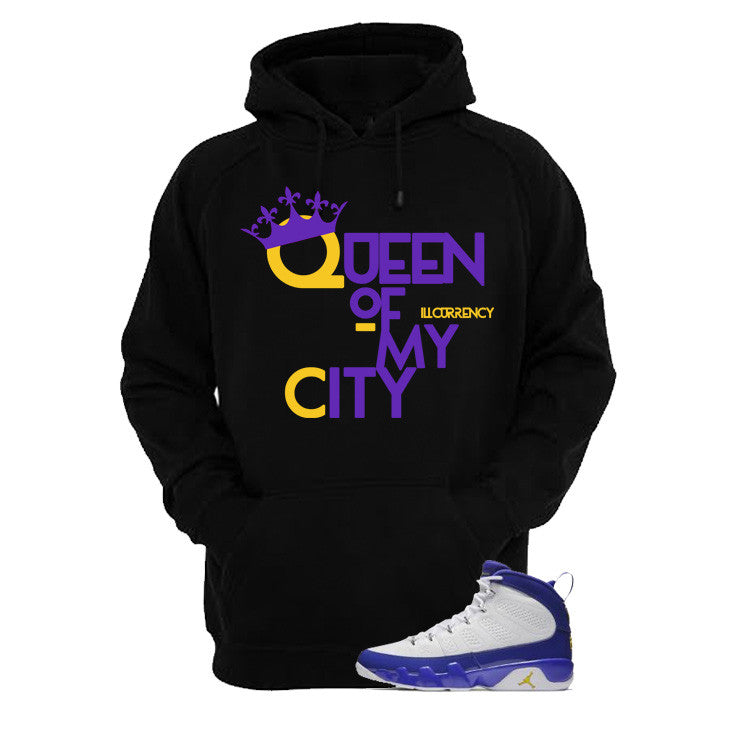 Jordan 9 Lakers Black T Shirt (Queen Of My City) - illCurrency Matching T-shirts For Sneakers and Sneaker Release Date News - 3