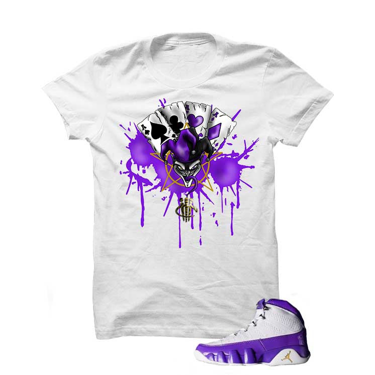 Jordan 9 Lakers White T Shirt (Joker Cards) - illCurrency Matching T-shirts For Sneakers and Sneaker Release Date News - 1