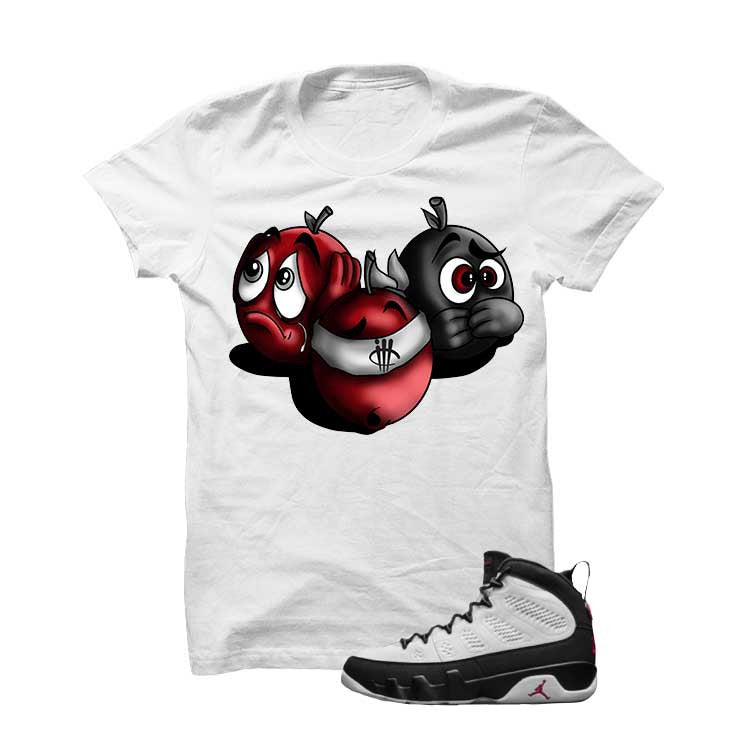 Jordan 9 Og True Red White T Shirt (See No Evil) - illCurrency Matching T-shirts For Sneakers and Sneaker Release Date News